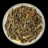 Чай зеленый китайский сенча, кусочки ананаса, ягоды годжи, лепестки календулы, лепестки сафлора, аромат барбариса.